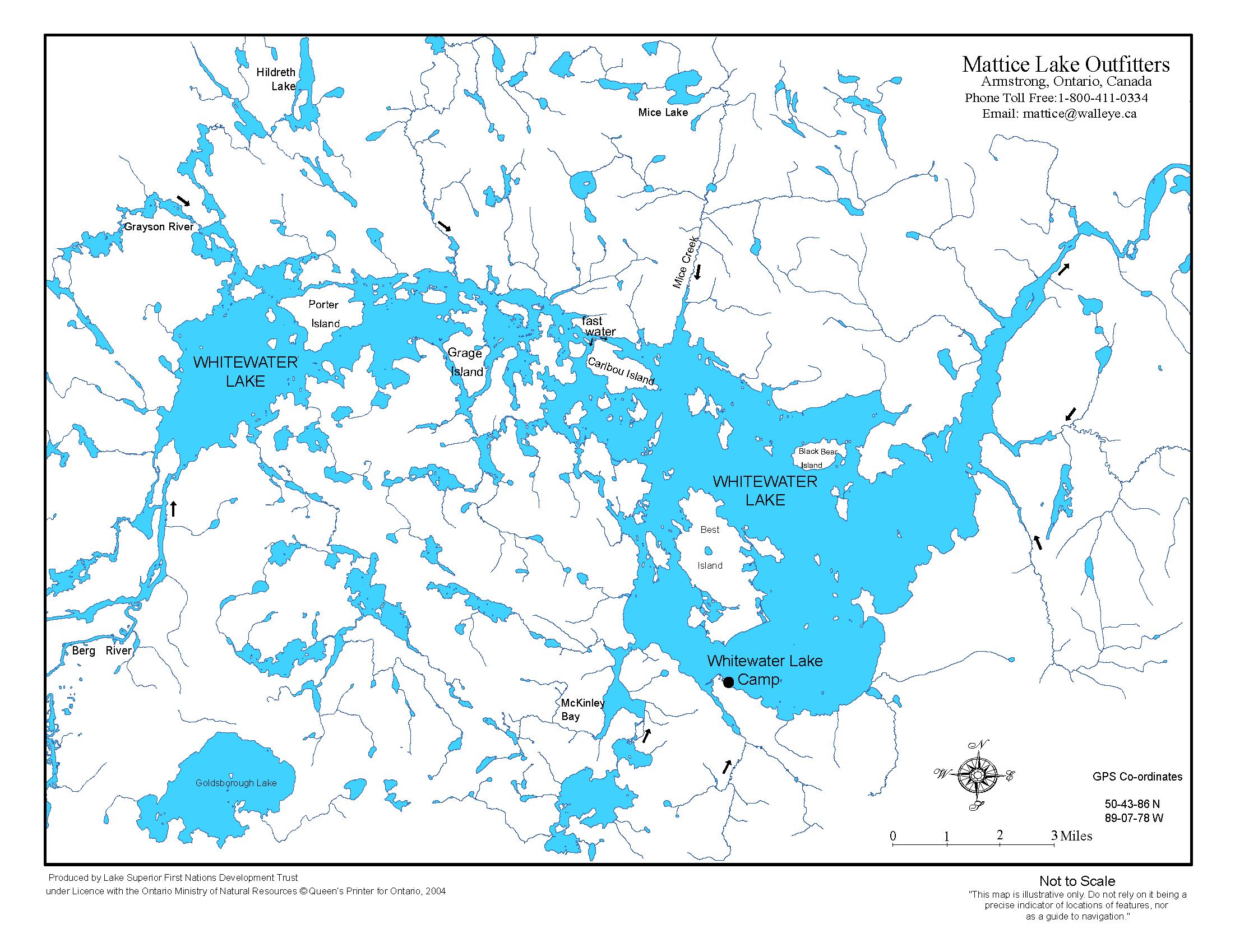 Whitewater Lake Ontario Northern Pike Fishing Lodging Mattice - Ontario fishing lakes maps